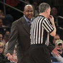 Georgetown's head coach John Thompson III argues with a referee during the first half of an NCAA college basketball game against Cincinnati at the Big East Conference tournament, Thursday, March 14, 2013 in New York. Georgetown won 62-43. (AP Photo/Mary Altaffer)