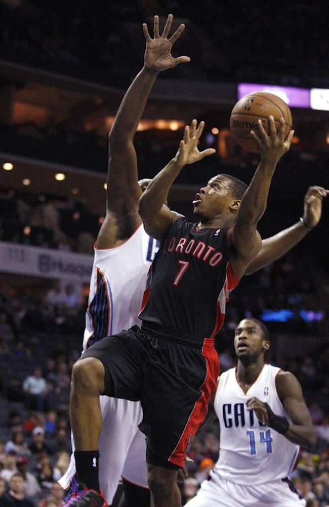 CORRECTS DATE TO JAN. 20 - Toronto Raptors guard Kyle Lowry (7) drives to the basketball against the Charlotte Bobcats in the first half of an NBA basketball game Monday, Jan. 20, 2014 in Charlotte, N.C