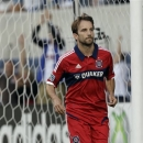 In this photo taken June 19, 2013, Chicago Fire midfielder Mike Magee celebrates after scoring from a penalty kick during the first half of an MLS soccer match against the Colorado Rapids in Bridgeview, Ill. Since he was traded from the Los Angeles Galaxy to the Fire, Magee has made quite a name for himself. In nine games with the Fire, he has scored eight goals, earning his very first trip to the MLS All-Star Game. (AP Photo/Nam Y. Huh)