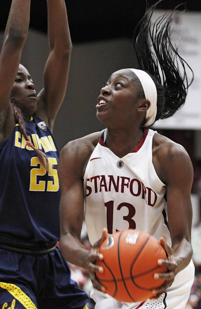 Stanford's Chiney Ogwumike, right, looks up to shoot as California's Gennifer Brandon defends during the second half of an NCAA college basketball game, Thursday, Jan. 30, 2014 in Berkeley, Calif