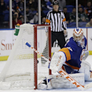 New York Islanders goalie Anders Nilsson watches a shot by Minnesota Wild's Matt Moulson gets past him during the third period of the NHL hockey game, Tuesday, March 18, 2014, in Uniondale, N.Y. The Wild defeated the Islanders 6-0 The Associated Press