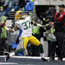 Green Bay Packers' Sam Shields celebrates after intercepting a pass during the first half of the NFL football NFC Championship game against the Seattle Seahawks Sunday, Jan. 18, 2015, in Seattle The Associated Press
