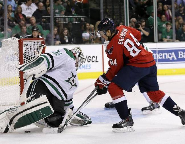 Dallas Stars' Kari Lehtonen (32), of Finland, searches for the puck behind him as Washington Capitals' Mikhail Grabovski (84) pressures in the second period of an NHL hockey game on Saturday, Oct. 5, 2013, in Dallas. Lehtonen was able to gain control of the puck on the play
