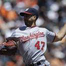 Washington Nationals' Gio Gonzalez works against the San Francisco Giants in the first inning of a baseball game Wednesday, May 22, 2013, in San Francisco. (AP Photo/Ben Margot)