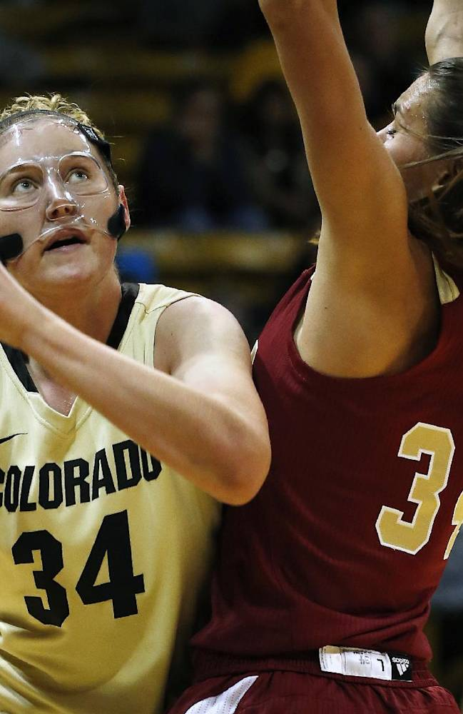 Colorado's Jen Reese, left, prepares to shoot while covered by Denver's Theresa Wirth during an NCAA college basketball game in Boulder, Colo., Thursday, Dec. 12, 2013. Colorado won 83-61