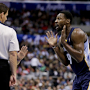 Memphis Grizzlies shooting guard Tony Allen, right, reacts after getting called for a foul by referee Mark Ayotte during the first half of an NBA basketball game in Los Angeles, Monday, Nov. 18, 2013 The Associated Press