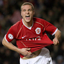 This is a Wednesday Dec. 6, 2006 file photo of Manchester United's Nemanja Vidic as he celebrates scoring against Benfica during their Group F Champions League soccer match at Old Trafford, Manchester, England. Inter Milan said Wednesday March 5, 2014 M