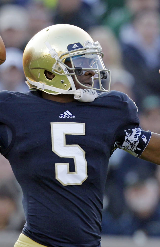 Notre Dame quarterback Everett Golson throws against Wake Forest during the first half of an NCAA college football game in South Bend, Ind., Saturday, Nov. 17, 2012