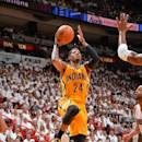 MIAMI, FL - MAY 30: Paul George #24 of the Indiana Pacers goes up for the shot against the Miami Heat in Game Six of the Eastern Conference Finals during the 2014 NBA Playoffs on May 30, 2014 in Miami, Fl. (Photo by Jesse D. Garrabrant/NBAE via Getty Images)