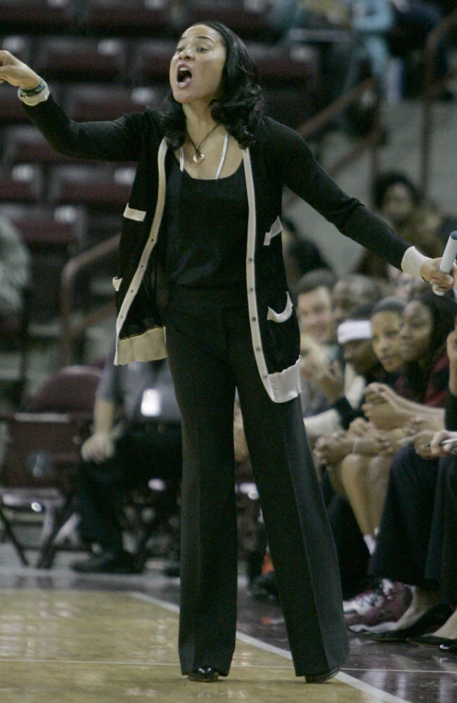 South  Carolina's coach Dawn Staley talks to her players during the first half of their NCAA college basketball game against Winthrop Friday, Dec. 20, 2013, in Columbia, SC. South Carolina defated Winthrop 69-61