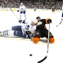 The Ducks Ryan Kesler, right, and the Maple Leafs' Dion Phaneuf fight for the puck during a game at Honda Center on Wednesday Jan. 14, 2015 The Associated Press
