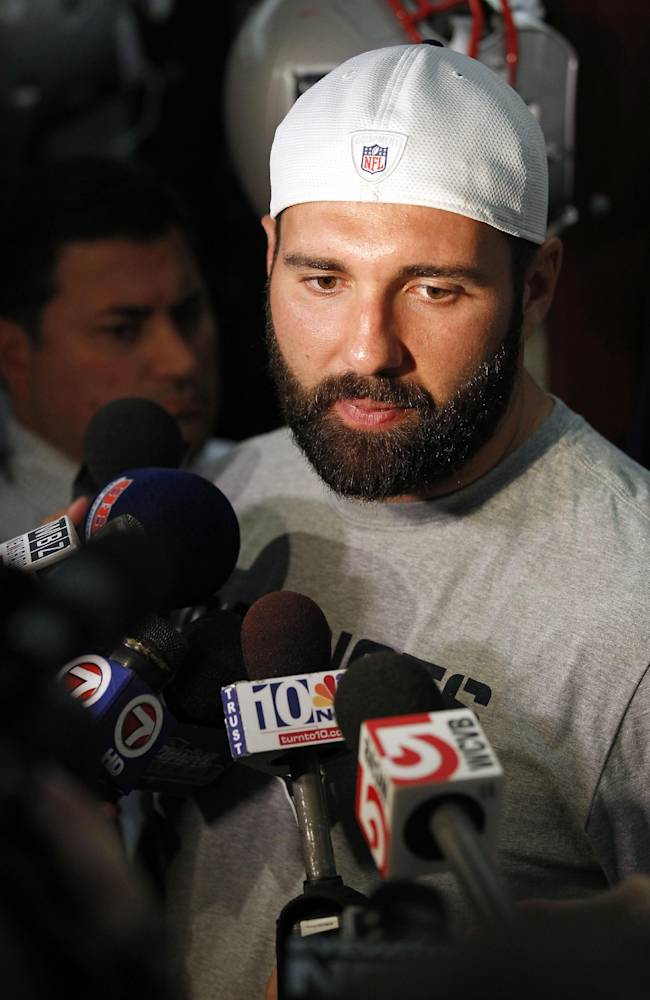 New England Patriots defensive end Rob Ninkovich speaks with the media in the locker room of Gillette Stadium in Foxborough, Mass., Tuesday Sept. 10, 2013. The Patriots play the New York Jets on Thursday in Foxborough