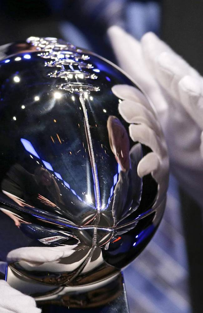 The Vince Lombardi Trophy is displayed before a news conference Friday, Jan. 31, 2014, in New York. The Seattle Seahawks are scheduled to play the Denver Broncos in the NFL Super Bowl XLVIII football game on Sunday, Feb. 2, at MetLife Stadium in East Rutherford, N.J