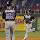 Atlanta Braves' Dan Uggla, right runs the bases after he hit a grand slam against the Philadelphia Phillies in the ninth inning of a baseball game Monday, April 14, 2014, in Philadelphia. Atlanta won 9-6 The Associated Press