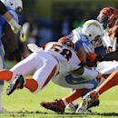 San Diego Chargers running back Danny Woodhead, center, is hit by Cincinnati Bengals middle linebacker Rey Maualuga (58) and outside linebacker Vontaze Burfict during the first half of an NFL football game Sunday, Dec. 1, 2013, in San Diego The Associated
