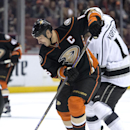 Anaheim Ducks' Ryan Getzlaf prepares to shoot against Los Angeles Kings' Anze Kopitar during an NHL hockey game Wednesday, Nov. 12, 2014, in Anaheim, Calif The Associated Press