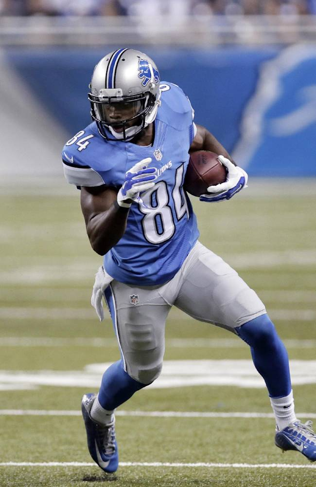 In this Aug. 22, 2014, photo, Detroit Lions wide receiver Ryan Broyles runs after a catch against the Jacksonville Jaguars in a preseason NFL football game in Detroit. Calvin Johnson and Golden Tate have secure roles with the Lions, but there are other wide receivers hoping to make one good impression Thursday night, Aug. 27, at Buffalo