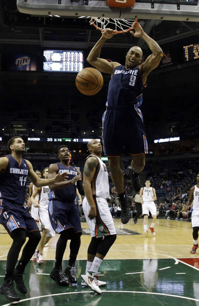 Charlotte Bobcats' Gerald Henderson dunks during the first half of an NBA basketball game against the Milwaukee Bucks, Saturday, Nov. 23, 2013, in Milwaukee