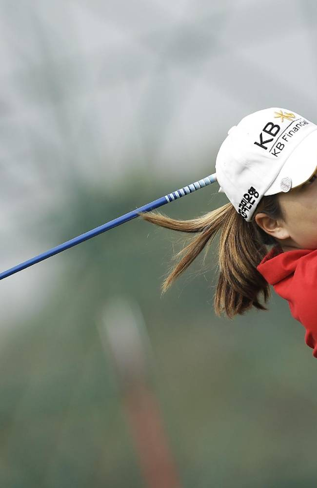Inbee Park of South Korea tees off on the forth hole during the second round of the Reignwood LPGA Classic golf tournament at Pine Valley Golf Club on the outskirts of Beijing, China, Friday, Oct. 4, 2013