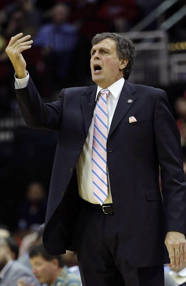 Houston Rockets coach Kevin McHale yells to his team during the second quarter of an NBA basketball game against the Los Angeles Lakers Thursday, Nov. 7, 2013, in Houston