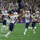 New England Patriots cornerback Darrelle Revis (24) and James Develin (46) celebrate during the second half of NFL Super Bowl XLIX football game against the Seattle Seahawks on Sunday, Feb. 1, 2015, in Glendale, Ariz The Associated Press