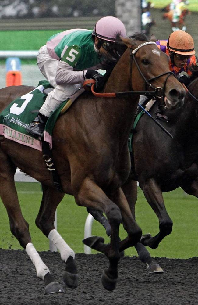 Emollient, left, under jockey Mike Smith, runs past Summer Applause, right, under jockey John Velazquez, in the final furlong to go from last to first to win the running of the $500,000 Spinster Stakes (Gr. I) horse race at Keeneland Race Course in Lexington, Ky., Sunday, Oct. 6,  2013