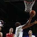 France's Boris Diaw jumps for a shot during the Basketball World Cup semifinal between Serbia and France in Madrid, Spain, Friday, Sept. 12, 2014. The 2014 Basketball World Cup competition will take place in various cities in Spain from Aug. 30 through to Sept. 14. (AP Photo/Andres Kudacki)