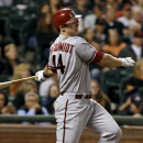 Arizona Diamondbacks' Paul Goldschmidt hits a single against the San Francisco Giants during the third inning of a baseball game, Thursday, Sept. 5, 2013, in San Francisco. (AP Photo/George Nikitin)