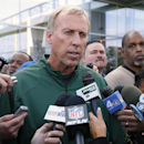 CORRECTS GENERAL MANAGERS'S NAME TO IDZIK - New York Jets general manager John Idzik talks about the trade for wide receiver Percy Harvin from Seattle during NFL football practice in Florham Park, N.J., Monday, Oct. 20, 2014 The Associated Press