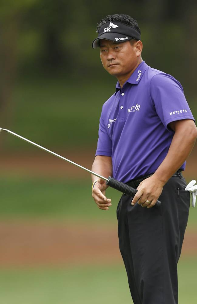 K.J. Choi reacts as he misses a putt on the 11th hole during the second round of the Wells Fargo Championship golf tournament in Charlotte, N.C., Friday, May 2, 2014