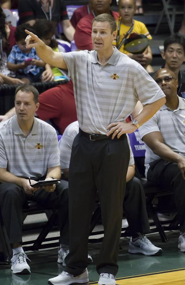 Iowa State coach Fred Hoiberg points down the court as his team plays George Mason in the first half of an NCAA college basketball game at the Diamond Head Classic on Sunday, Dec. 22, 2013, in Honolulu