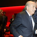 Sepp Blatter, right, arrives for the opening ceremony of the FIFA congress in Zuerich, Switzerland on Thursday May 28, 2015. The FIFA congress with the president's election is scheduled for Friday, May 29, 2015 in Zurich. (Walter Bieri/Keystone via AP)