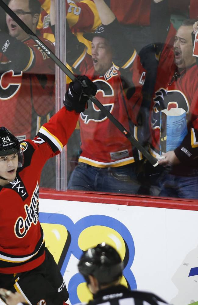 Calgary Flames' Jiri Hudler, from the Czech Republic, celebrates his goal during second period NHL hockey action against the Boston Bruins in Calgary, Alberta, Tuesday, Dec. 10, 2013
