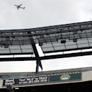 In this Oct. 15, 2014, photo, a sign at MetLife Stadium in East Rutherford, N.J., gives information on how to summon help. The stadium has about 40 events a year, ranging from 10 home dates each for the Giants and Jets to college football, concerts, and m