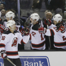 New Jersey Devils' Jacob Josefson (16) celebrates his goal against the San Jose Sharks during the third period of an NHL hockey game Monday, Jan. 19, 2015, in San Jose, Calif The Associated Press