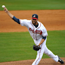 Atlanta Braves pitcher Jordan Walden delivers in the eighth inning of an exhibition baseball game against the team's minor league Future Stars Saturday, March 29, 2014, in Rome, Ga. The Future Stars won 13-4 The Associated Press