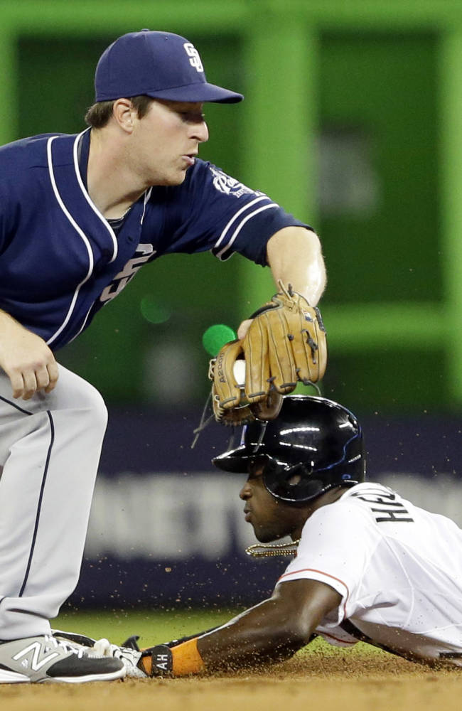 Miami Marlins' Adeiny Hechavarria, right, steals second base as San Diego Padres second baseman Jedd Gyorko, left, attempts the tag during the sixth inning of a baseball game on Friday, April 4, 2014, in Miami