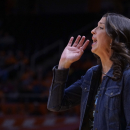 Oral Roberts head coach Misti Cussen shouts directions to her team in the first half of an NCAA college basketball game Monday, Nov. 17, 2014, in Knoxville, Tenn. (AP Photo/Patrick Murphy-Racey)