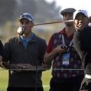 Tiger Woods hits a drive on the 10th hole during a practice round for the U.S. Open Championship golf tournament Monday, June 11, 2012, in San Francisco. (AP Photo/Morry Gash)