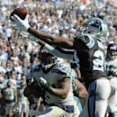 Carolina Panthers cornerback Josh Norman (24) intercepts a ball intended for Seattle Seahawks running back Marshawn Lynch (24) in the end zone during the first half of an NFL football game, Sunday, Oct. 26, 2014, in Charlotte The Associated Press