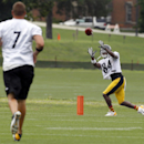 Pittsburgh Steelers wide receiver Antonio Brown (84) catches a pass from quarterback Ben Roethlisberger (7) during practice at NFL football training camp in Latrobe, Pa., Sunday, July 27, 2014 The Associated Press