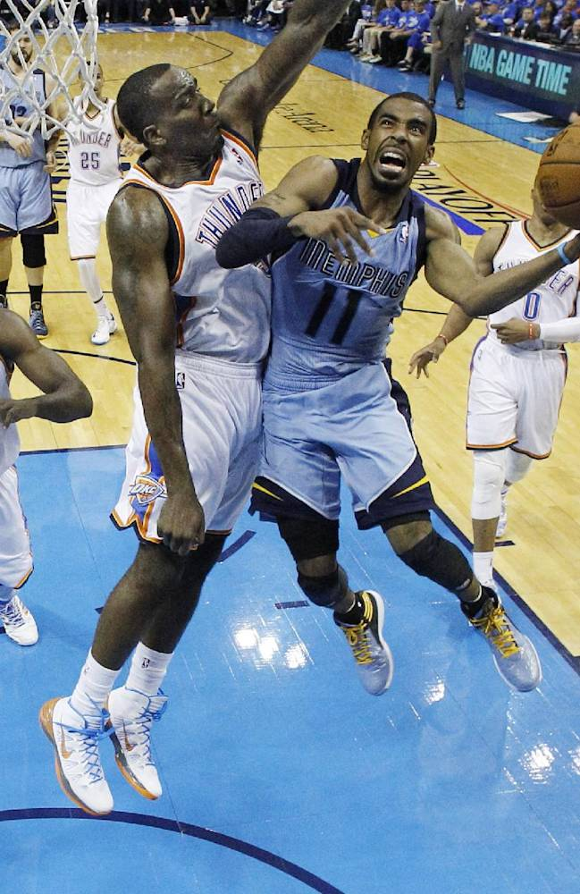 Memphis Grizzlies guard Mike Conley (11) goes up for a shot in front of Oklahoma City Thunder center Kendrick Perkins (5) in the third quarter of Game 2 of an opening-round NBA basketball playoff series in Oklahoma City, Monday, April 21, 2014. Memphis won 111-105 in overtime