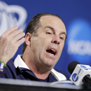 Notre Dame head coach Mike Brey answers questions during a news conference at the NCAA college basketball tournament, Friday, March 27, 2015, in Cleveland. Notre Dame plays unbeaten Kentucky a regional final on Saturday, with the winner advancing to the Final Four. (AP Photo/Tony Dejak)