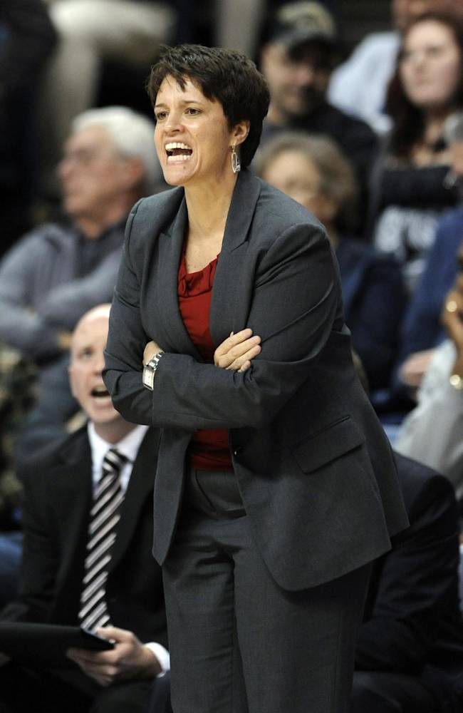 In this Nov. 22, 2013, photo, Boston University women's basketball coach Kelly Greenberg calls out during a game against Connecticut in Hartford, Conn. Greenberg resigned Wednesday, April 23, 2014, about a month after several former players complained that she was so verbally and emotionally abusive that she drove them off the team. The university assembled a three-member panel to investigate the allegations of abuse that four former scholarship players say prompted them to quit last season