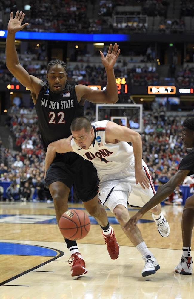 Arizona guard T.J. McConnell (4) drives past San Diego State forward Josh Davis (22) during the first half in a regional semifinal of the NCAA men's college basketball tournament, Thursday, March 27, 2014, in Anaheim, Calif