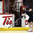 Ottawa Senators Mika Zibanejad takes some shots before practice in Ottawa, Ontario, Saturday, May 18, 2013, on the eve of Game 3 of the NHL hockey Stanley Cup playoff series against the Pittsburgh Penguins. (AP Photo/The Canadian Press, Fred Chartrand)