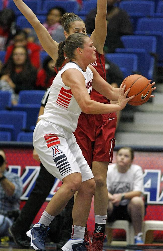 Arizona's Kama Griffitts, in front, is pressured by Stanford's Kailee Johnson, in back, as she passes the ball in the second half of an NCAA college basketball game on Friday, Jan. 17, 2014, in Tucson, Ariz