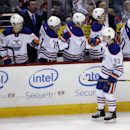 Edmonton Oilers center Ryan Nugent-Hopkins (93) celebrates his goal to tie in the third period of an NHL hockey game against the Washington Capitals, Tuesday, Jan. 20, 2015, in Washington. Edmonton won 5-4 in a shootout The Associated Press