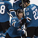 San Jose Sharks' Joe Thornton celebrates after the Sharks defeated the Anaheim Ducks 6-4 in an NHL hockey game, Saturday, Nov. 29, 2014, in San Jose, Calif The Associated Press