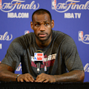 MIAMI, FL - JUNE 7: LeBron James #6 of the Miami Heat addresses the media as part of the 2013 NBA Finals on June 7, 2013 at American Airlines Arena in Miami, Florida. (Photo by Garrett W, Ellwood/NBAE via Getty Images)